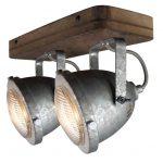 """Plafondlamp.2l Spot """"Woody"""" Galva/hout"""