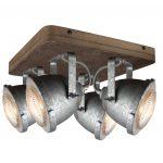 """Plafondlamp 4l Spot """"Woody"""" Galva/hout"""
