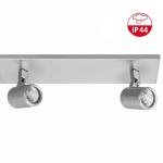 Badkamerspot 2-lichts ip44 balk nikkel mat