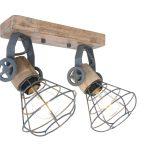 Wandlamp spot Geurnesey wood grijs dubbel